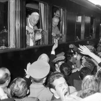 Pope John XXIII Greets Crowds From Train